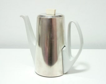 Vintage Bauscher Weiden porcelain teapot/coffee pot with WMF silverplate cover, Bavaria Germany,