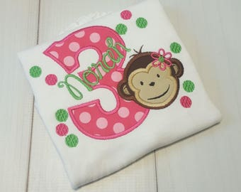 Mod Monkey Birthday--Girly Monkey Hot Pink and Lime Green--ANY age or number-- Girls Birthday Shirt--Embroidered shirt or bodysuit