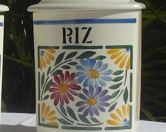 Vintage French 1940s Rice Caddy Antique China Storage Canister Jar Pot Riz