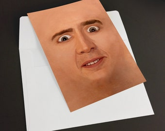 "Creepy Cage Face Card, 5x7"" Greeting Card - Blank Inside"