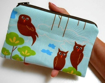 SALE Zipper Pouch Rare Blue Hot Couturier Owls ECO Friendly Padded Coin Purse LIMITED