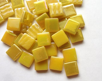 "12mm (1/2"") Yellow Pearlized Recycled Glass Square Mosaic Tiles//Mosaic Supplies//Craft Supplies"