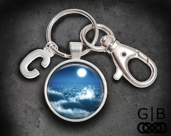 Moonlight Sonata Keychain Clouds and Moon Keychain - Moonlight Keyring Accessories - Moonlight Cloud Keychain Moonlight Cloud Accessories