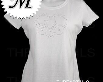Ladies Rhinestone Tee | Bling Bike Tee | Bicycle Heart | Ladies Size Medium White Top | Biking Cycling Gift Idea