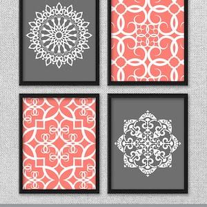 Printable Art Set, Coral And Gray Art, Printable Art, Bedroom Art, DIGITAL