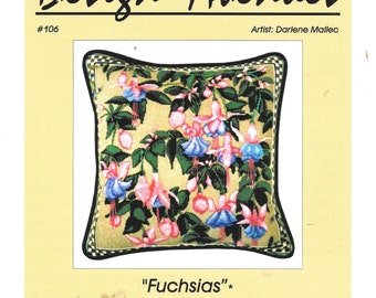 Design Avenues Fuchias Counted Cross Stitch Pattern Floral Needlepoint Charted Design Chart Pack Rare Out of Print Darlene Mallac