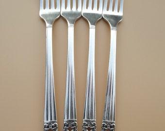 "Vintage Coronation (Hampton) Oneida ca 1936 Grille Fork 7-1/2"" Community Plate Silverware Silverplate Lot of 4"