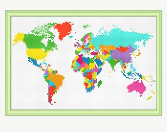 World Map Cross Stitch Pattern - Cross stitch continent - Atlas Cross stitch -Embroidery - PDF - INSTANT DOWNLOAD