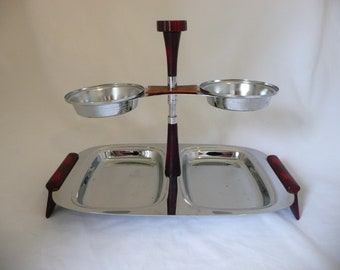 Vintage Glo Hill Serving Tray,  Dip Tray with Bakelite Handles