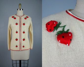 Vintage 1960s Ivory Wool Strawberry Sweater | 60s Strawberry Fields Sweater | 3D Strawberries Size M