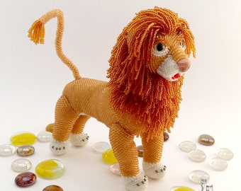 "Pattern / Tutorial Beaded Ornament -Master class to create "" Simba the Lion"""