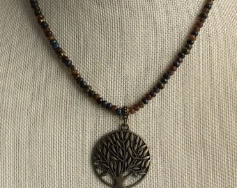 BEADED  NECKLACE, Czech Glass Necklace, Tree of Life