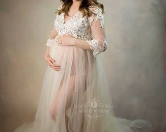 White Maternity Gown, Lace Maternity Dress for Photo Shoot,  Plus Size Maternity, Pregnancy Dress, White Maxi Dress  - The Aurora