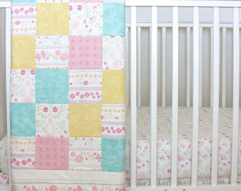 Floral Crib Bedding/ Floral Nursery/ Wildflower Crib Set/ Bird Crib Bedding/ Girl Woodland Set/ Ruffle Crib Skirt/ Floral Crib Sheet