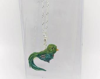 Beautiful Quetzal bird pendant, fancy bird necklace,green bird.