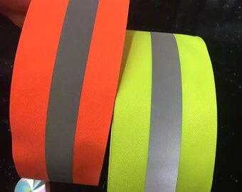 "Neon Orange Reflective Glo Grosgrain Ribbon - 2"" Silver Reflective Stripe -100% Polyester / Sports, Selling Per 2 Yards"
