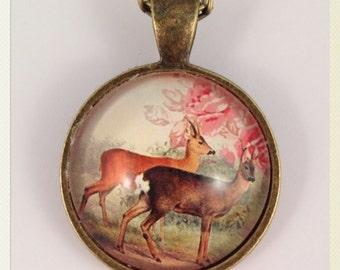 FREE SHIPPING Woodland Deer Pendant Necklace. Doe a deer necklace, woodland gift