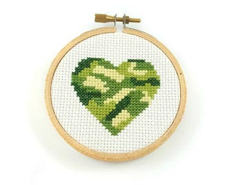 Camouflage heart cross stitch pattern, army print heart pattern, camoufage pattern, counted cross stitch, heart pdf pattern