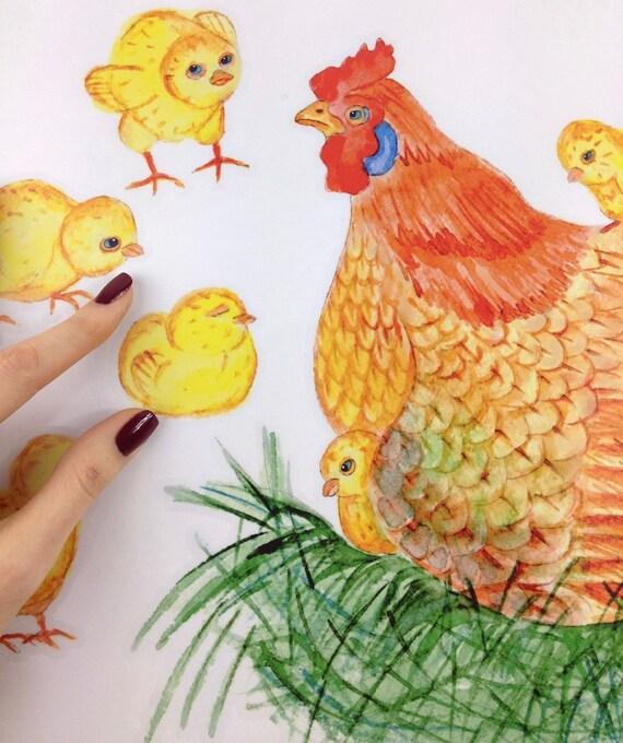 Wandtattoo Huhn mit Küken Fliesenaufkleber Wandaufkleber
