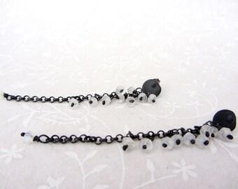 Oxidized sterling silver chandelier chain earrings, Moonstone cluster earrings, post long dangle earrings