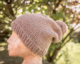 Super Chunky Pom Pom Hat - Beige - Wool/Alpaca 0 READY TO SHIP