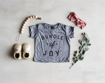 Bundle Of Joy Baby T-Shirt • Unique Typographic Style Infant Tee • Super Soft American Made Modern Shirt •Made in USA • FREE SHIPPING