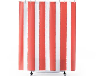 Coral Shower Curtain   Stripe Shower Curtain   Modern Shower Curtain   Salmon  Shower Curtain