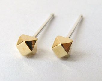 Gold Faceted Stud Earrings - Geometric Second Hole Cube Earings - Tiny Diamond Shape - Cartilage Studs - Eco Friendly and Ethical Jewelry