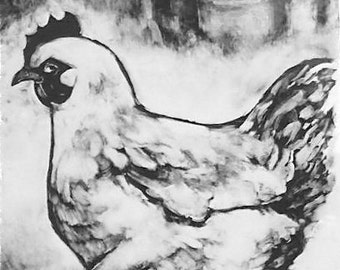 Farm animal wall art chicken Original whimsical hand pulled monotype print