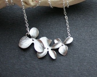 Silver Orchid Necklace, Triple Orchids Necklace, Flower Necklace, Sterling Silver, Wedding Jewelry, Bridesmaids Gifts, Everyday Necklace