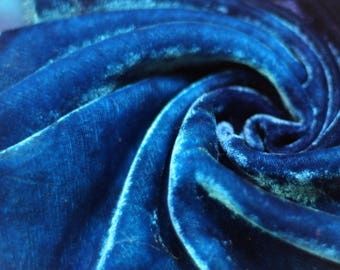 Silk Viscose Velvet hand dyed for Crazy Patchwork, Embroidery and Needlecraft.