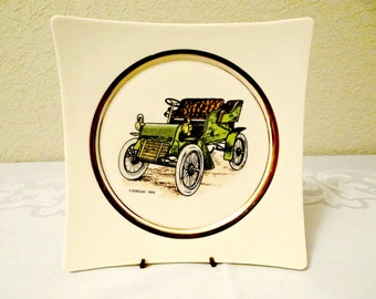 Vintage Hyalyn Cadillac Porcelain Square Plate, Collectible Cadillac Plate, Home Office Decor, 1904 Cadillac Plate, Collectible, Under 15
