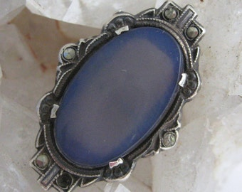 Victorian Blue Chalcedony Sterling Marcasite Ring Antique Signed Hycrest Czech