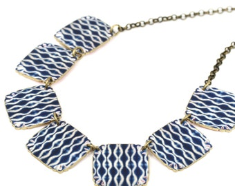Shibori Linked Necklace, Shibori, Shibori Jewelry, Shibori Necklace, Shrink Plastic, Indigo Textile, Indigo Jewelry, Indigo, Shibori