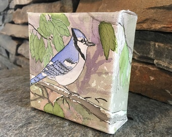 Blue Jay Small Canvas Block Watercolor with Ink Nature Art Wall Decor Knicknack Painting Songbird Square