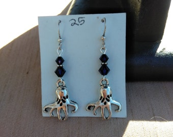 Octopus Squid Earrings with Crystal Accent Beads