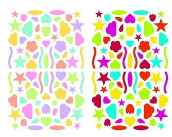 320 stickers multifaceted Pastels and bright colors
