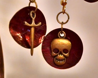 Skull and Sword charms with brown shell disk earrings; feather-light, with ball & coil fishhook findings