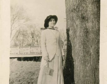 vintage photo 1920 Young Woman Long Coat Purse By tree snapshot