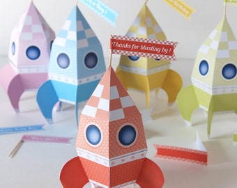 Rockets favor box printable editable, space party gift box, DIY baby shower rocket favor, rocket treat box, outer space party DIY