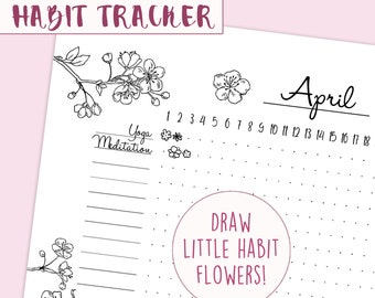 Printable Habit Tracker Bullet Journal   Flower Pattern A5 Bulletjournal & Planner Pages, Coloring Page Spring Cherry Blossom Sticker
