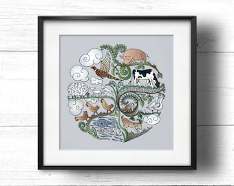 Born to Roam (Lavender) - A4 Sq Giclée Print - Free Range / Vegan Farm Animals, Contemporary Country Cottage Kitchen Style Picture