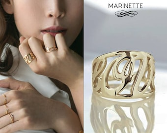 Solid gold Love ring - 14K