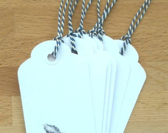 Pack of 6 handmade tags with guinea feather
