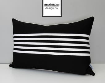 Decorative Black & White Outdoor Pillow Cover, Modern Striped Pillow Cover, Sunbrella Cushion Cover, Mazizmuse Stripe, Aligned