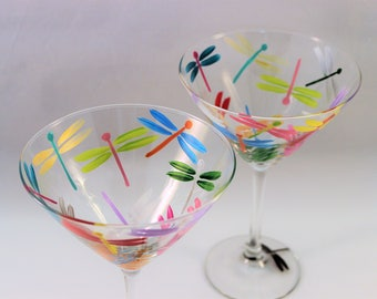 Multi-color dragonflies, hand painted martini glasses, painted dragonfly glasses, colorful martini glasses, set of 2