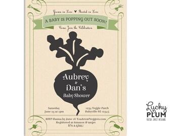 Locally Grown Baby Shower Invitation / Farmer's Market Invite / Farm Baby Invite / Fruit Vegetable Invite /Couple Shower Invite /Seed Invite