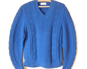 Vintage Hand Crochet Cable Knit Sweater- Chunky Knit V-Neck Azure/Royal Blue Sweater- Mens Small/Womens Large- Beautifully Handmade Sweater!