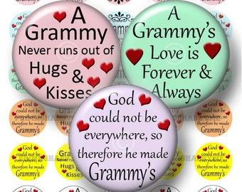 Grandma Sayings, Bottle Cap Images, Grammy, Digital Collage Sheet, Instant Download, 1 Inch Circles, For Cabochons, Pendants, Jewelry No.1