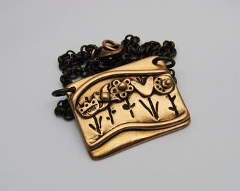Rose Gold Bronze Flower Garden Necklace, Handmade Flower Necklace, Antique Copper Necklace, Flower Jewelry, Boho Necklace, Art Jewelry